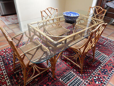 Vintage 50`s Rattan dining set with 4 chairs in the #1 most desirable pattern
