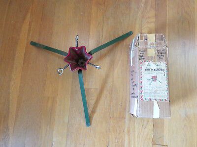 Christmas Tree Stand Antique Vintage Quasi Mfg Co Chicago Cast Iron Red Green