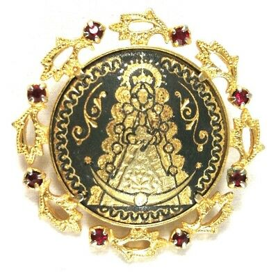 Damascene Brooch Vintage Gold Plated Pin Our Lady Of Guadalupe Black Nielo Iron