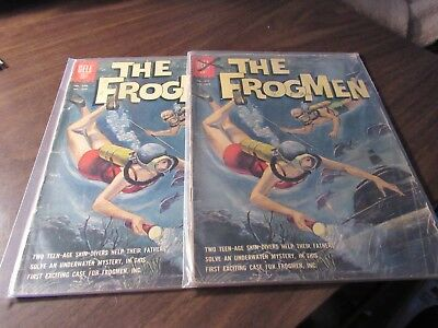 Lot of 2 Dell Four Color #1258 the Frogmen Vintage WAR Comic Book 1962 SilverAge