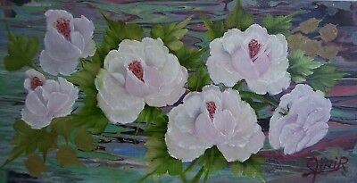 "WHITE ROSES #9 - Oil Canvas Panel -Signed Gini R -16 X 8""  (218-153)"