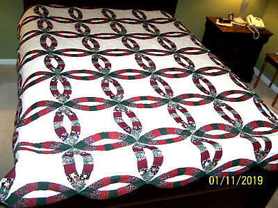 """Vintage Arch Quilt N.Y. Double Wedding Ring Patchwork Quilt 82"""" X 98"""""""
