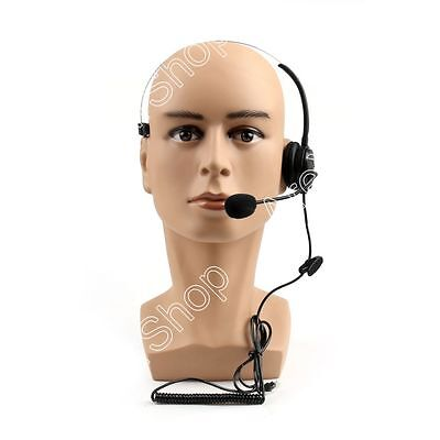 5Pcs 4 Wired RJ9 Call Center Corded Operator Telephone Mic Headset Monaural Blk