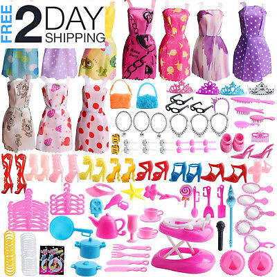 141 Pcs Barbie Doll Clothes Accessories Huge Lot Party Gown Outfits Girl Gift