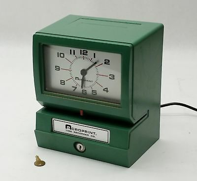 ACROPRINT 150NR4 HEAVY DUTY AUTOMATIC ELECTRIC TIME RECORDER PUNCH CLOCK w/KEY