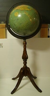 """Antique Pre WWII Replogle globe 12 """" Wooden Stand Adjustable Axis"""