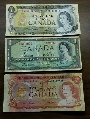 Canadian 1954, 1973 & 1974 - 2  $1Dollar Currency, & 1-2 $ Currency
