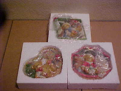 Cherished Teddies Holiday Mini Wall Plaques 3 Pieces 1999 Enesco New 534668