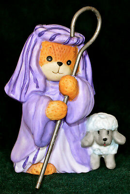 Lucy & Me 1997 Nativity Shepherd sheep lamb staff purple robe Porcelain Figurine