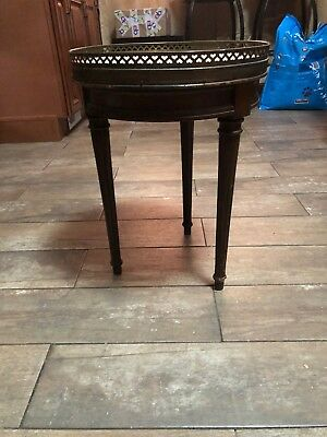 Antique French Louis XVI Brandt Marble top Round Center Table Work table