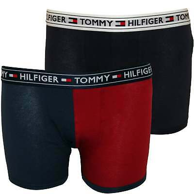 Tommy Hilfiger 2-Pack Colour Block Logo Boys Boxer Trunks, Red/Navy