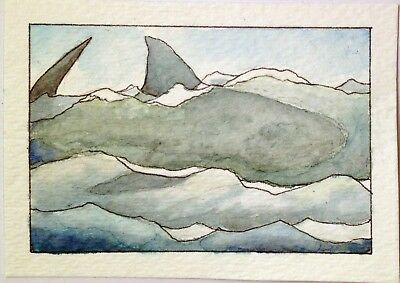 ACEO Original Watercolor Painting SHARK WAVE by W.Scholes, signed