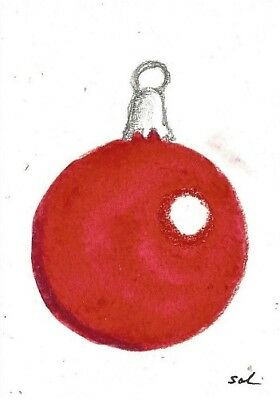 Christmas Ornament ACEO originalwatercolor painting atc card red ball tree art