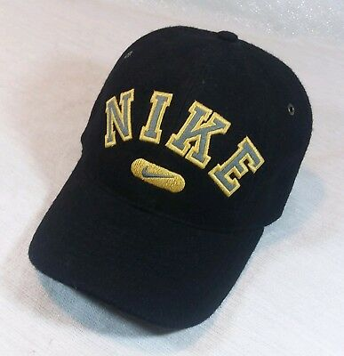 aff488616a6 Nike Adjustable Back Hat Baseball Cap Black Wool Blend Yellow Embroidered  Logo