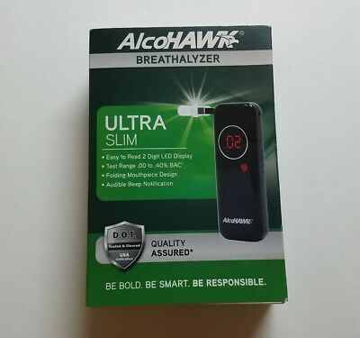 Alcohawk Ultra Slim Breathalyzer 3 Mouthpieces DOT tested and cleared