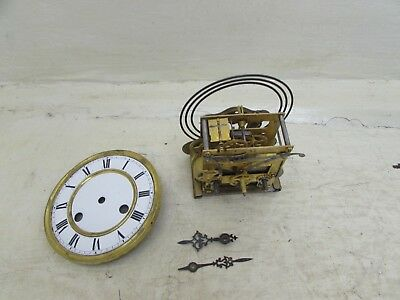 Antique Spring Driven Wall Clock Movement For Spares/Repairs