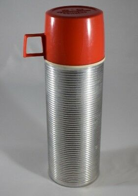 Vintage Aluminum Vacuum Bottle Thermos #2284, 1 pint with stopper & Red Cup