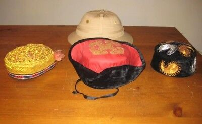 Collection Antique Vintage Chinese Asian Hats Plus Pith Helmet 4 Total Estate