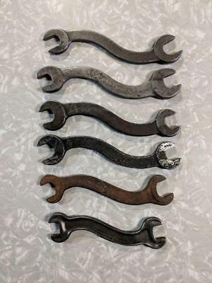 LOT of 6 Vintage S WRENCHES Curved WRENCH made in USA W & B, H523, Drop Forged