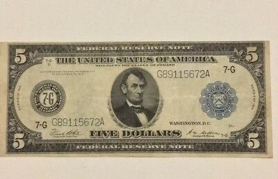 1914  5 Dollar Federal Reserve Note                Circulated