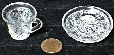 Antique Sandwich Lacy Toy Flint Glass Cup and Saucer, c. 1835