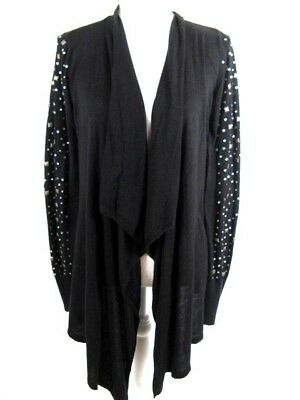 Say What Womens LARGE Sweater Waterfall Open Front Cardigan Embellished #1210
