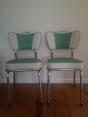 Retro Vintage 60s Kendall Vinyl and Chrome Dining Chairs Great Condition