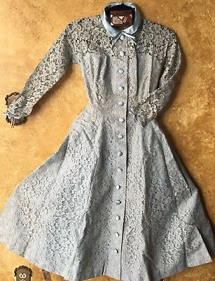 Vintage 1950 60s Lord Taylor French Blue Chantilly Lace