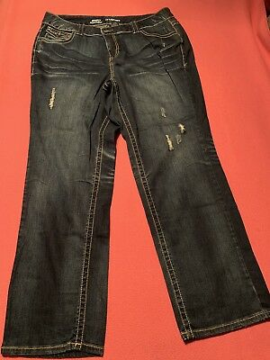 Lane Bryant Boot-cut Jeans Womens Size 20W Dark Blue Distressed Pre-owned
