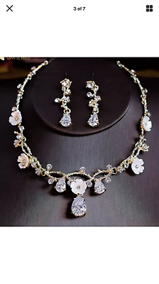Wedding Necklace Gold Ivory Austrian Crystal Flower Tear Drop Set