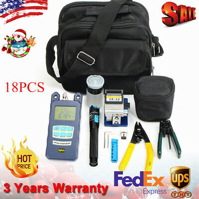 10 In 1 Fiber Optic FTTH Tool Kit with FC-6S Fiber Cleaver and Power Meter <USA>