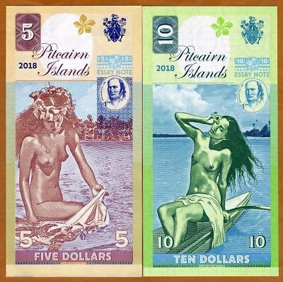 PITCAIRN ISLANDS $10 & $5 2018 Polynesian Nude Matching x 2 FANTASY Banknotes