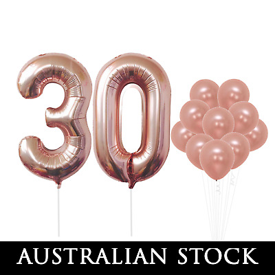 30 NUMBER BALLOONS Rose Gold 100cm 30th Birthday Party Supplies