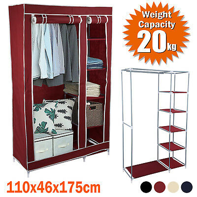 Fabric Double Canvas Wardrobe Clothes Cupboard With Drawer Hanging Rail Storage