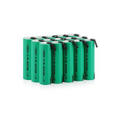 Tenergy AA 2000mAh NiMH Rechargeable Battery Flat Top w/ Tabs for Shavers Lot