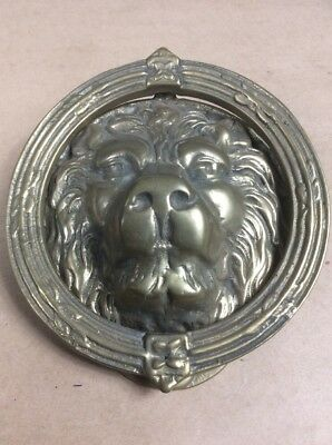 "Vintage Large Heavy Solid Brass Lion Head / Face Door Knocker 6-1/2"" X 7-1/4"""