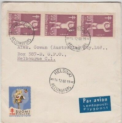 Stamps Finland on 1960 cover sent airmail to Australia with Christmas Cinderella