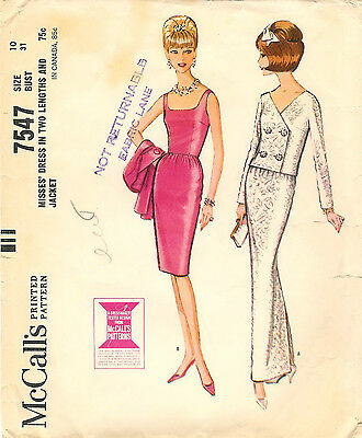 Vintage 1964 McCall's # 7547 Sewing Pattern: Misses Dress & Jacket Size 10