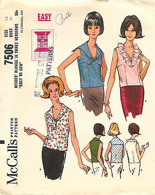 Vintage 1964 McCalls 7506 Sewing Pattern Misses Blouse In Three Versions Size 14