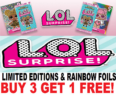 Panini LOL Surprise! Trading Cards LTD ED'S, SHINING RAINBOW & HEART FOIL  L.O.L