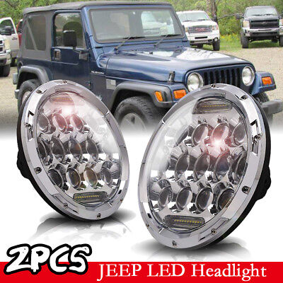Pair 7 INCH 75W LED Headlight Hi/Lo Beam DRL for 1997-18 Jeep Wrangler JK LJ CJ