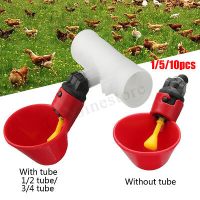 1/5/10Pcs Poultry Water Drinking Cups Chicken Hen Bird Plastic Automatic