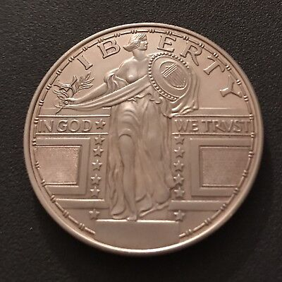 Two Troy Ounce .999 Fine Silver Round, Standing Liberty