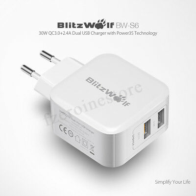 BlitzWolf BW-S6 30W Dual USB Port Charger Fast Charging Adapter For Phone