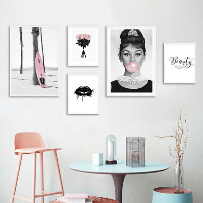 Audrey Hepburn Rose Canvas Poster Fashion Wall Art Print Girls Room Decoration