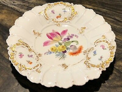 Beautiful Vintage Meissen Porcelain Charger Plate W/Hand Painted Flowers 1800's