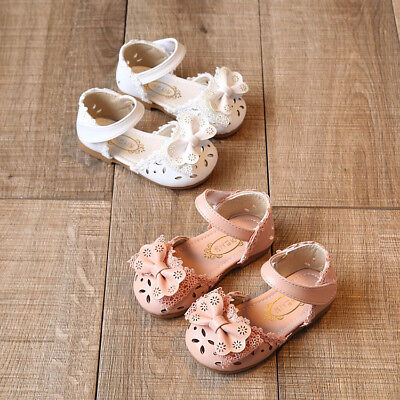 Kids Baby Girl Flower Lace Shoes Bow Sandals Toddler Infant Child Sandals Soft