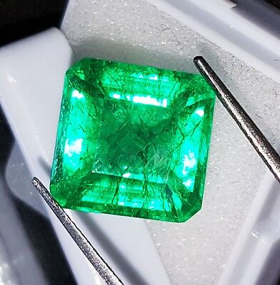 9.52 Ct Certified Natural Emerald Loose Gemstone Colombian Square Shape