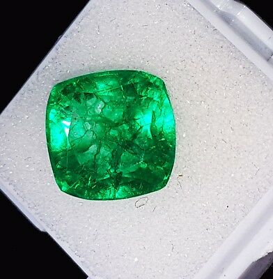 8.92 Ct Certified Natural Emerald Loose Gemstone Colombian Cushion Shape