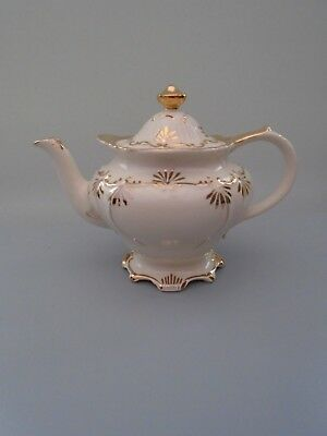 Victorian  Sadler Cream  & Gold Heavily Gilded Pedestal  Teapot